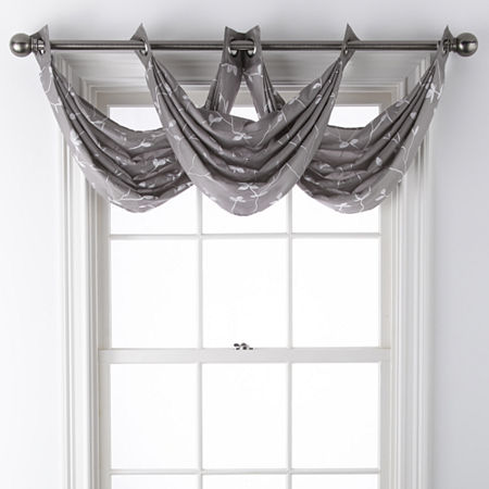 JCPenney Home Malone Leaf Grommet-Top Waterfall Valance, One Size , Gray