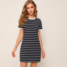 Contrast Trim Striped Dress