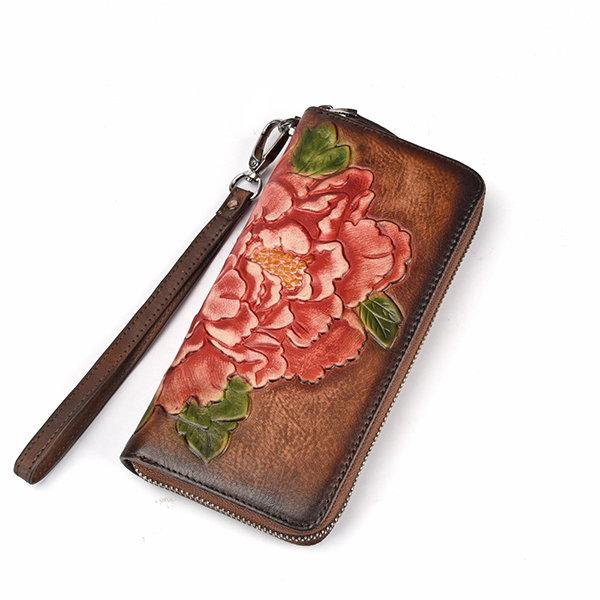 Women Genuine Leather Vintage 8 Card Slot Phone Purse Hand Brush Color Embossed Wallet