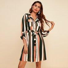Colorful Stripe Drawstring Waist Shirt Dress