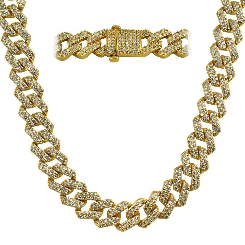 Gold Turkish Cuban 19MM CZ Hip Hop Iced Out Chain