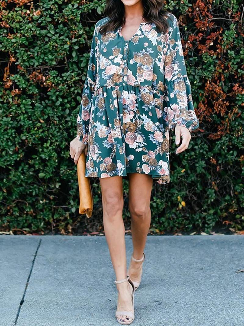 Ericdress Lantern Sleeve V-Neck Above Knee Regular Floral Dress