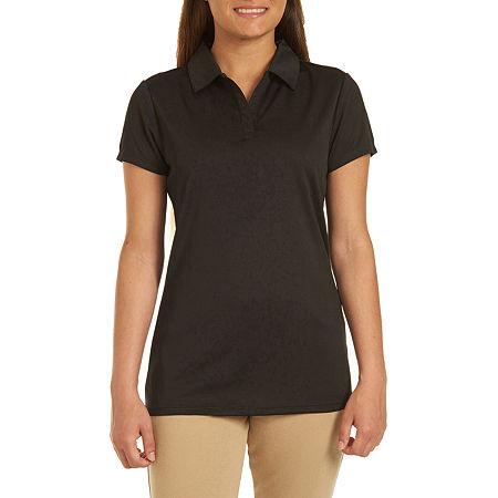 IZOD Womens Short Sleeve Performance Polo Shirt Juniors, Medium , Black