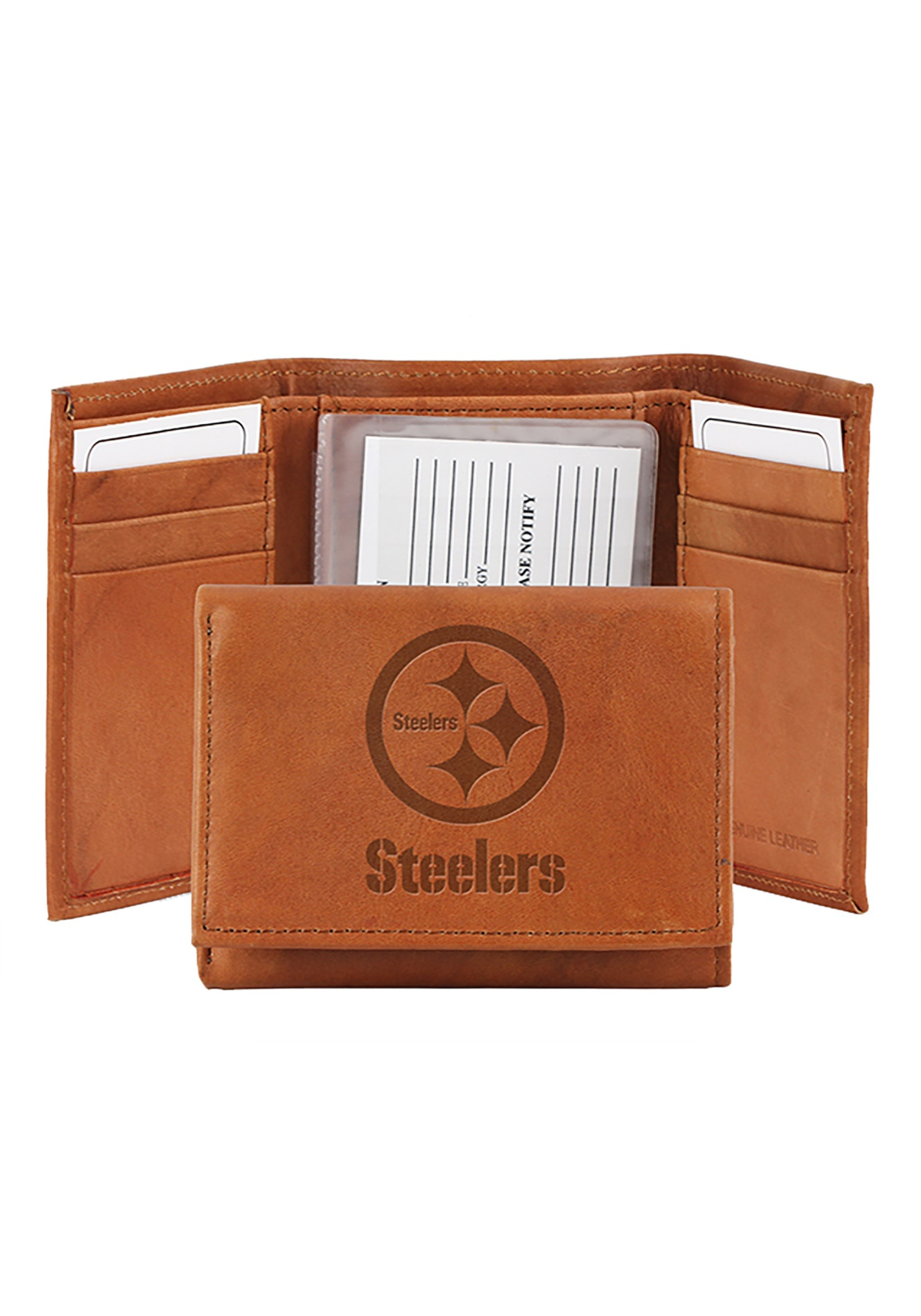 NFL Pittsburgh Steelers Genuine Tri-Fold Leather Wallet
