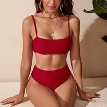 Einfarbiger Bikini Badeanzug mit hoher Taille