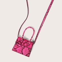 Mini Neon Pink Snakeskin Print Satchel Bag