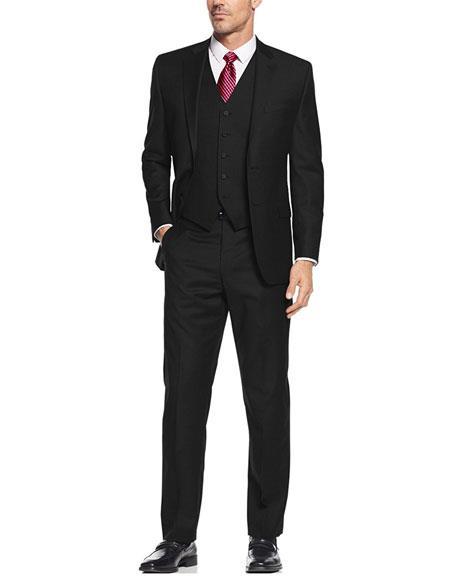 Black Slim Skinny European fit Vested 3Pieces Suit NotchLapel SideVent