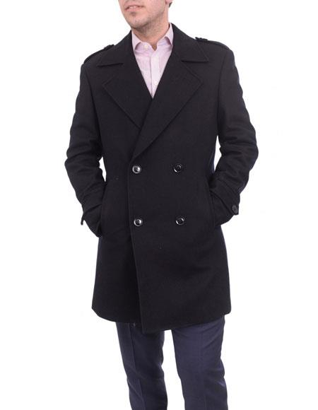 mens solid black Double Breasted wool overcoat top coat