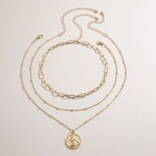 3 Stuecke Halskette mit Muenze Anhaenger