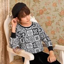 Pullover mit Stamm Muster und Schal