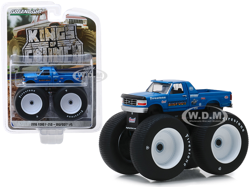 1996 Ford F-250 Monster Truck Bigfoot 5 Blue Kings of Crunch Series 4 1/64 Diecast Model Car by Greenlight