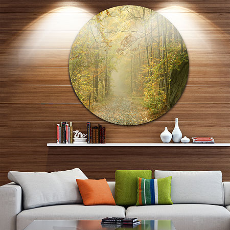 Design Art Autumn Forest Path on Misty Morning Circle Landscape Circle Metal Wall Art, One Size , Green
