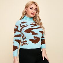 Plus Cowl Collar Graphic Pattern Fluffy Knit Sweater