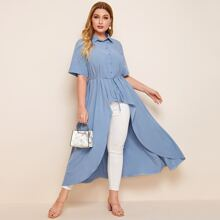 Plus High Low Self Tie Button Up Blouse