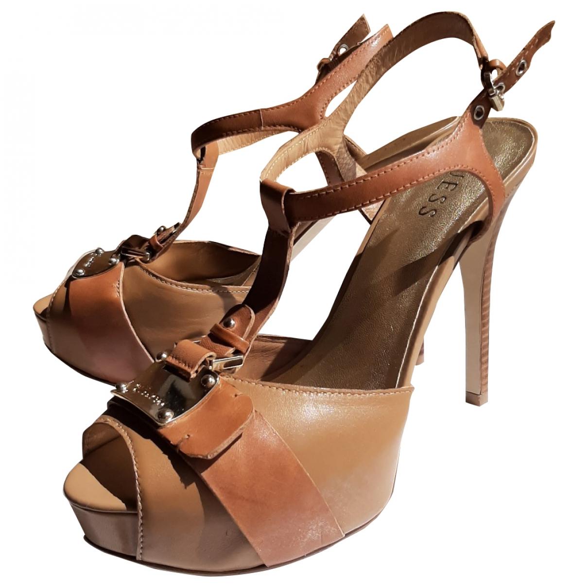 Guess - Sandales   pour femme en cuir - beige