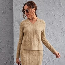Solid Cable Knit Sweater