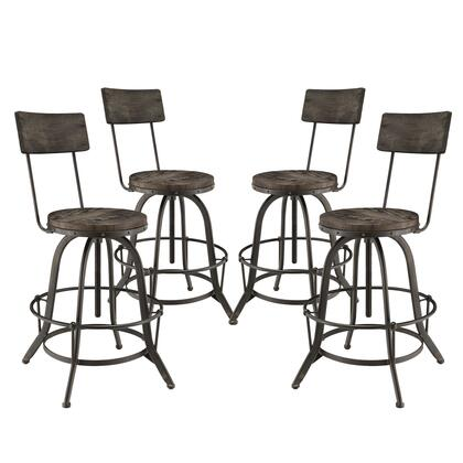 Procure Collection EEI-1609-BLK-SET Set of 4 Bar Stools with Round Shaped Pine Wood Seat and Back  Foot Ring  Industrial Style  Tapered Legs and