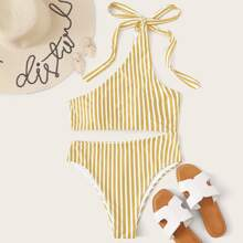 Striped Cut-out One Shoulder One Piece Swimsuit