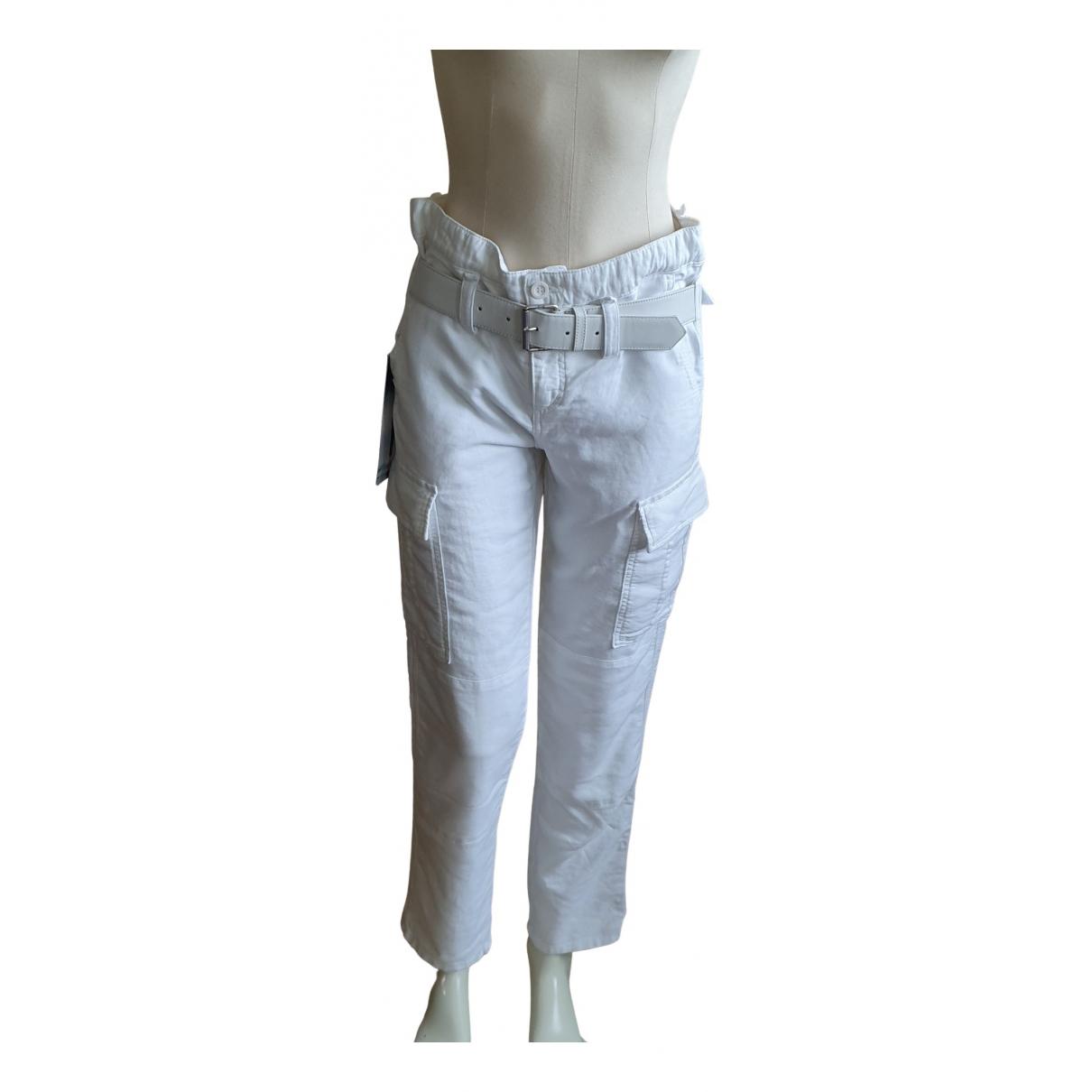 Rta N White Cotton Trousers for Women XS International