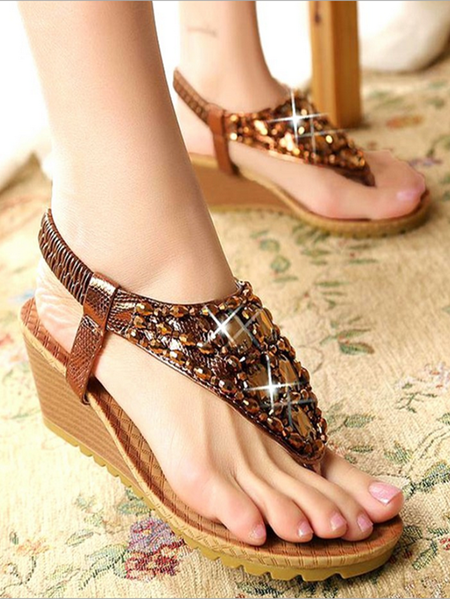 Yoins Rhinestones Herringbone Sandals