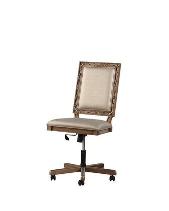 BM196708 Wooden Executive Office Chair with Leatherette Upholstered Seat and Back  Brown and