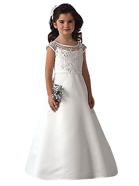 Milanoo Flower Girl Dresses Jewel Neck Short Sleeves Studded Kids Party Dresses