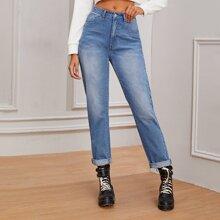 Boyfriend Jeans mit Bleichen Waesche