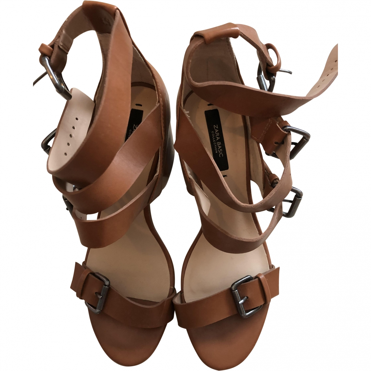 Zara \N Brown Leather Heels for Women 36 EU