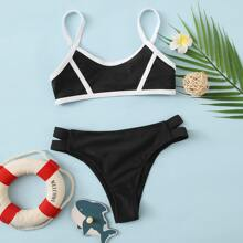 Girls Contrast Binding Cut-out Bikini Swimsuit