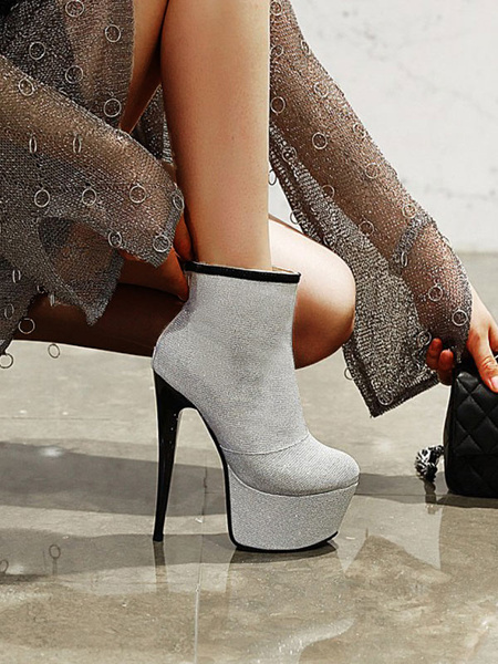 Milanoo Women Ankle Boots Sequined Cloth Silver Round Toe Stiletto Heel Platform Boots