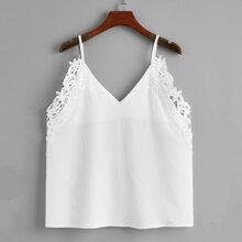 Guipure Lace Solid Cami Top