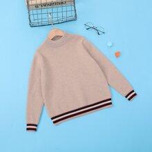 Girls Striped Pattern Mock Neck Sweater