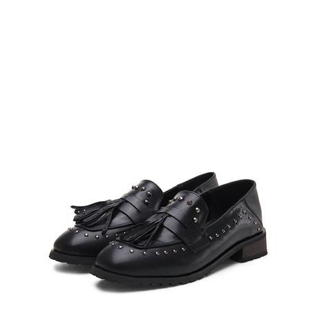 Yoins Black Soft Leather Look Tassel studded Slip-on Loafers