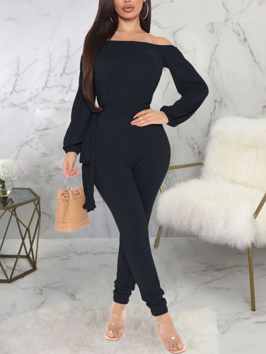 LW Lovely Casual Off The Shoulder Long Sleeve Black One-piece Jumpsuit