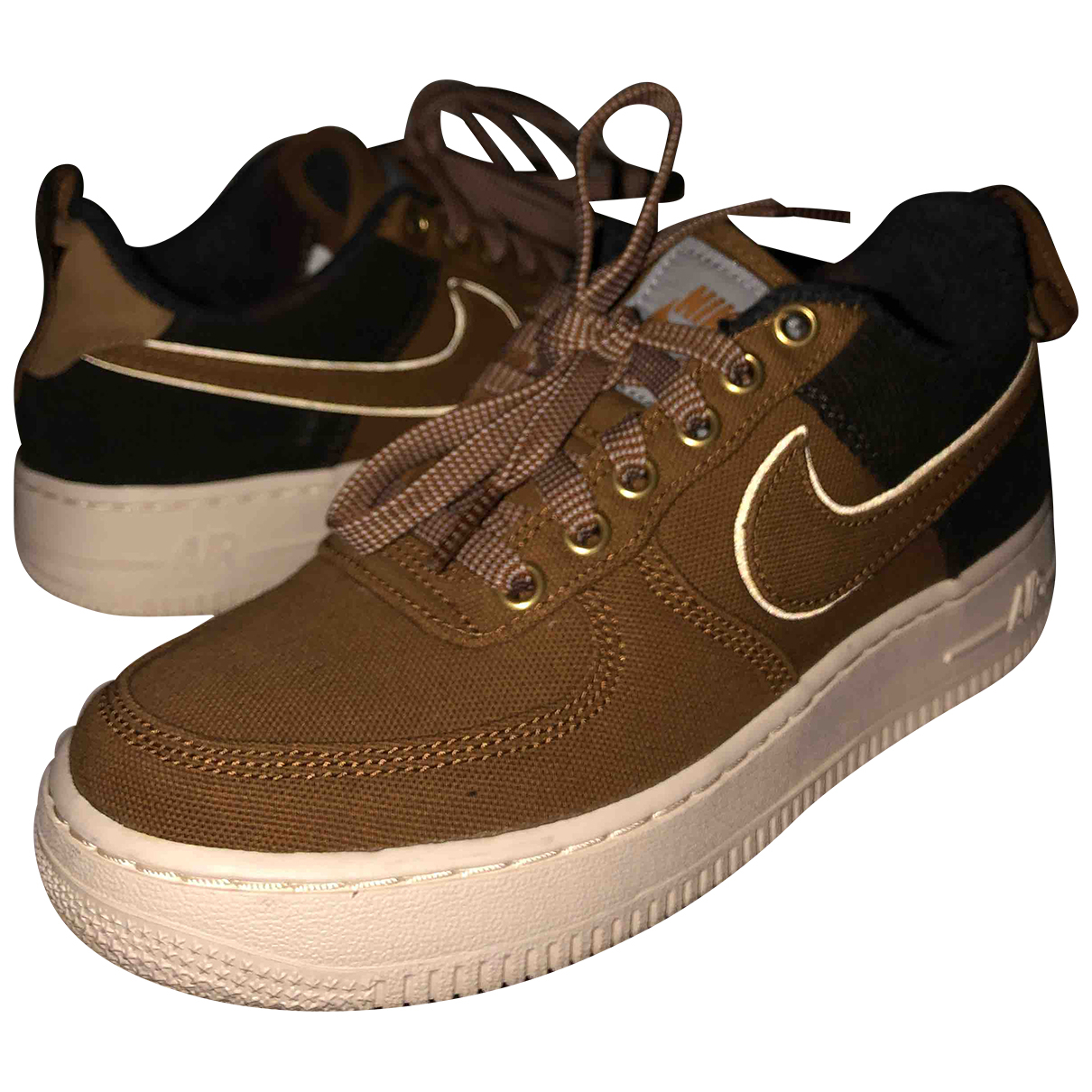 Nike - Baskets Air Force 1 pour enfant en toile - marron