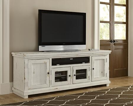 Willow P610E-74 74 Console with Gunmetal Finished Knobs  Adjustable Shelving and Grommets for Wire Management in Distressed