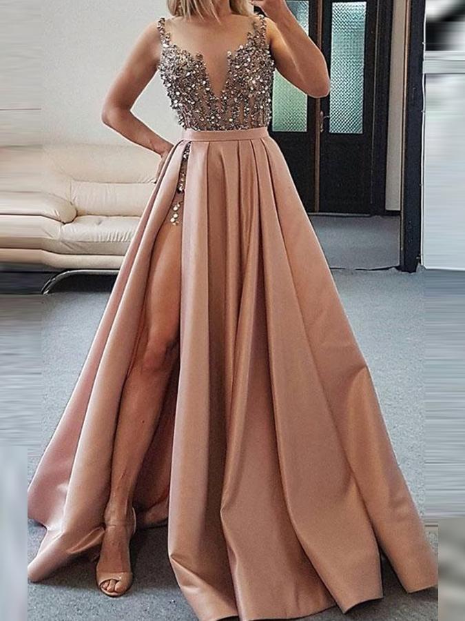 Ericdress A-Line Sleeveless Straps Evening Dress 2020