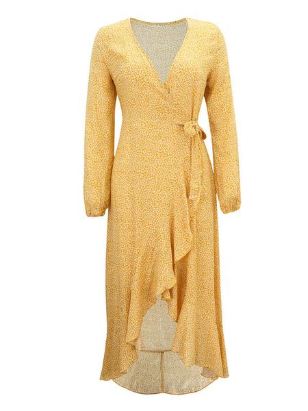 Milanoo Vestido de verano Vestido de manga larga con cuello en V