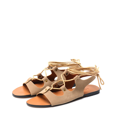 Yoins Brown Lace-up Design Open Toe Sandals