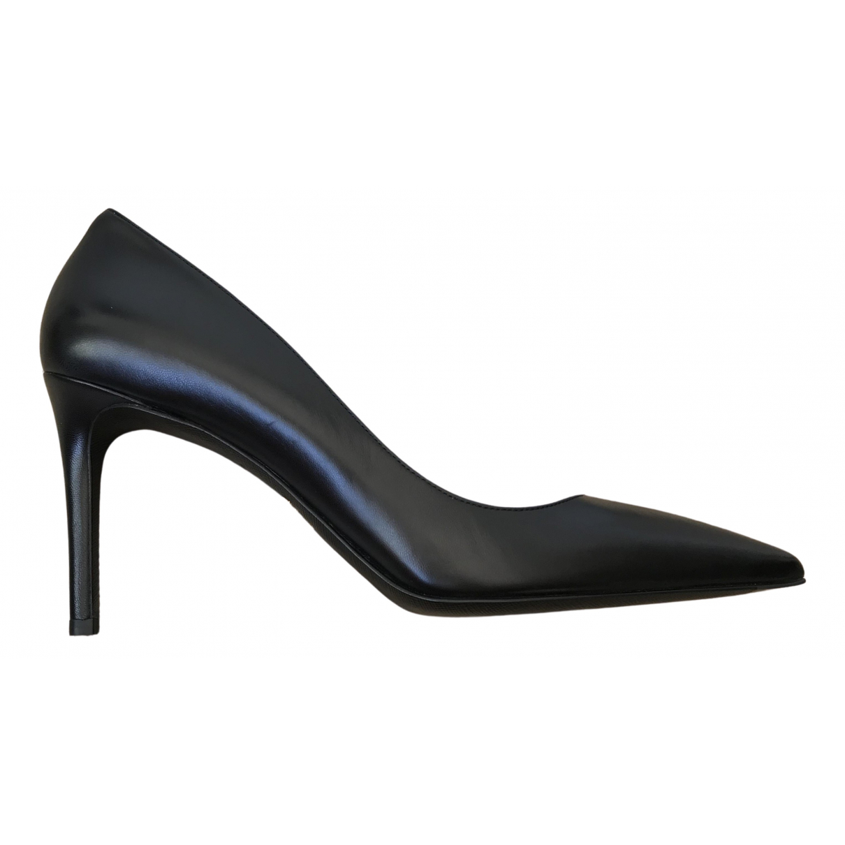 Prada N Black Leather Heels for Women 40.5 IT