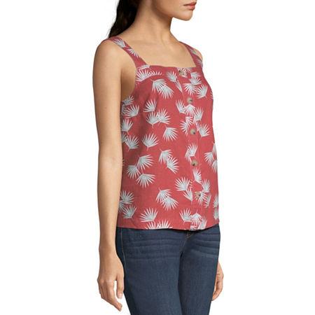 Liz Claiborne Womens Square Neck Sleeveless Shells, Large , Red