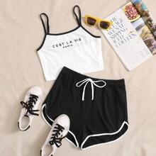 Cami Top mit Kontrast Bindung, Buchstaben Grafik & Delphin Shorts Set