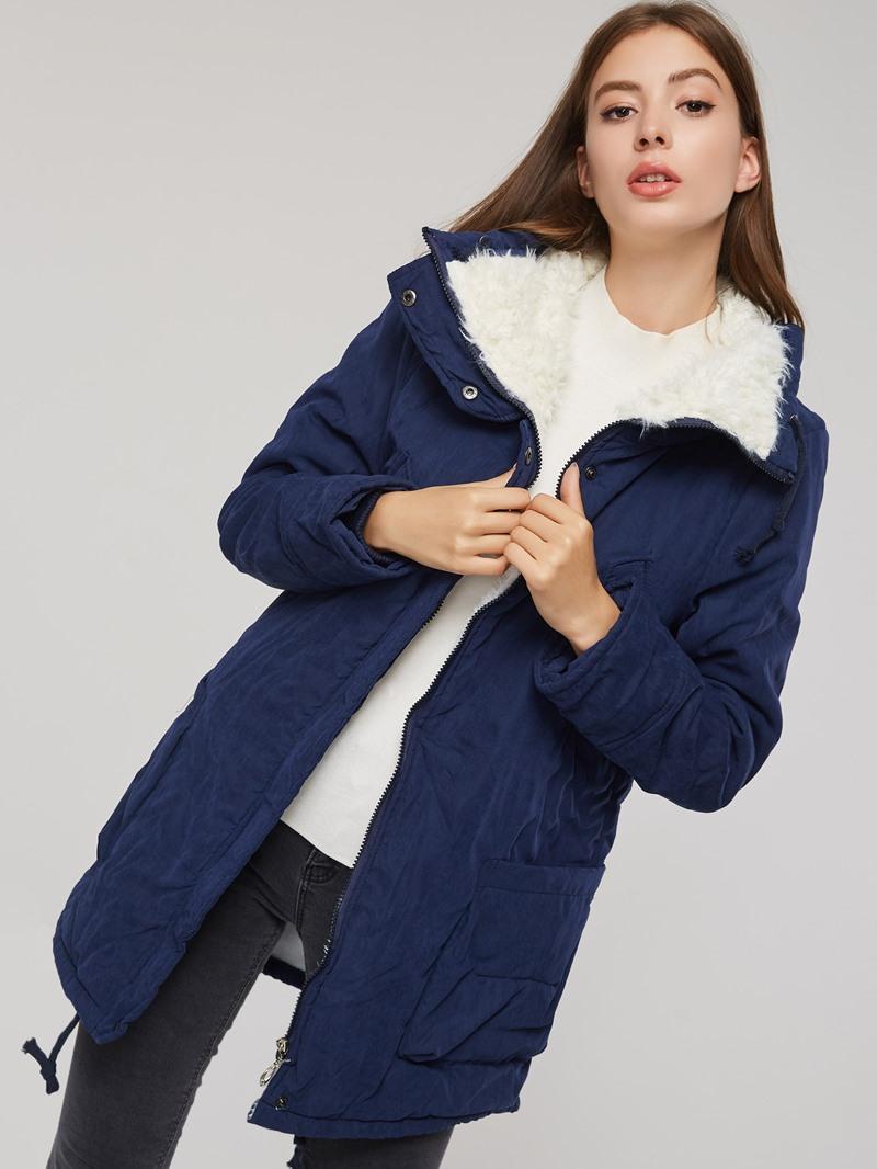 Ericdress Slim Pocket Zipper Mid-Length Padded Cotton Jacket