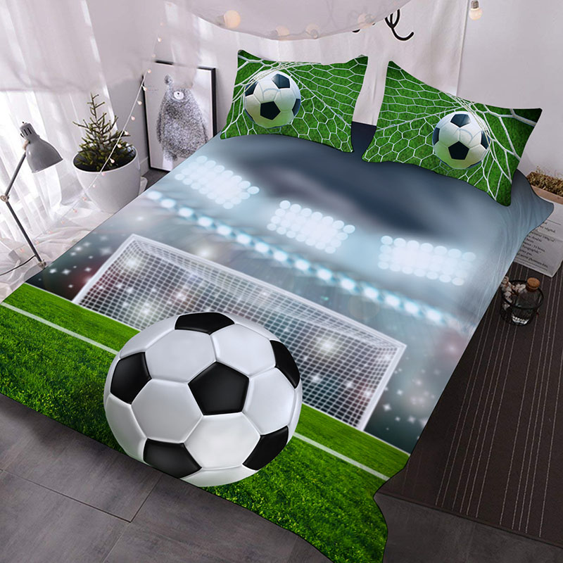 The Soccer In Front Of The Football Frame Printed Polyester 3-Piece Comforter Sets