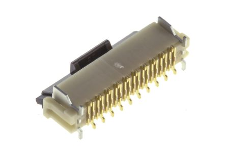 Hirose DX Series, Male 28 Pin Right Angle Through Hole SCSI Connector 1.27mm Pitch, Plug In, Quick Latch