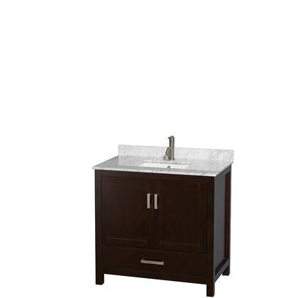 WCS141436SESCMUNSMXX 36 in. Single Bathroom Vanity in Espresso  White Carrera Marble Countertop  Undermount Square Sink  and No