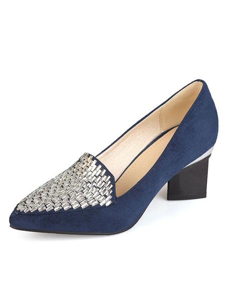 Milanoo Pointed Toe Heels Suede Rhinestones Designed Heel Slip On Pumps For Women