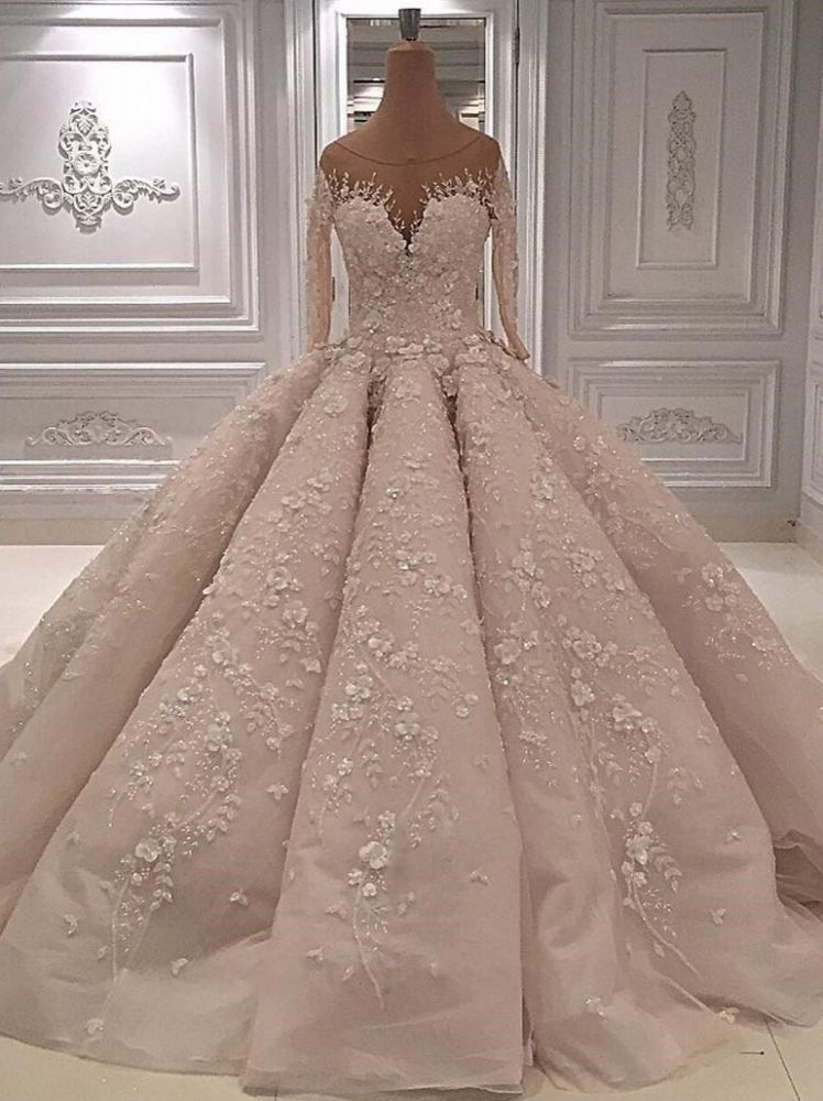 Luxury Long Sleeve Sheer Neck Lace Applique Ball Gown Wedding Dress