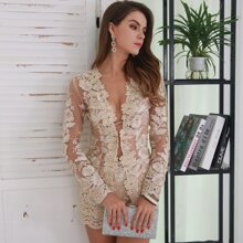 Sheer Floral Embroidery Mesh Top & Shorts Set Without Bra