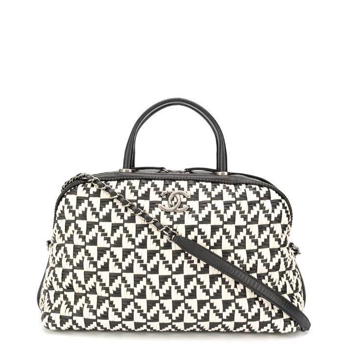 Chanel Calfskin Woven Bowling Bag